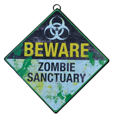 Gothic Metal Wall Sign, Beware Zombie Sanctuary Sign 30cm - Angel Clothing