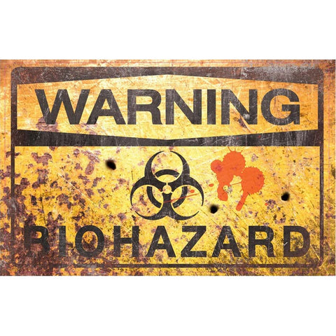 Gothic Metal Wall Sign, Warning Bio Hazard Sign 43cm - Angel Clothing