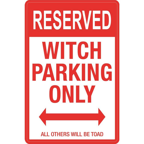 Gothic Metal Wall Sign, Witch Parking Sign 43cm - Angel Clothing