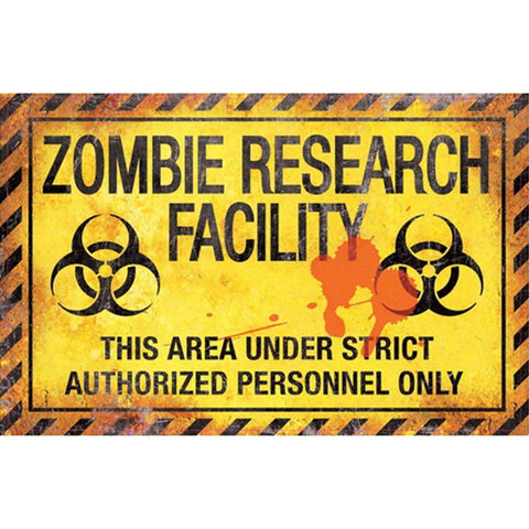 Gothic Metal Wall Sign, Zombie Research Facility Sign 43cm - Angel Clothing