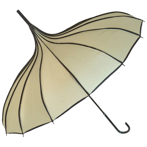 Gothic Umbrella, Beige Ribbed Gothic Pagoda Umbrella / Ivory Parasol - Angel Clothing