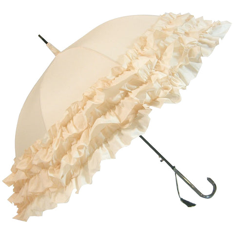 Gothic Umbrella, Beige Triple Frill Steampunk Umbrella / Parasol - Angel Clothing