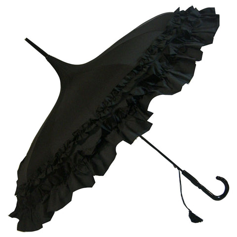 Gothic Umbrella, Black Frilled Gothic Pagoda Umbrella / Parasol - Angel Clothing