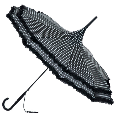 Gothic Umbrella, Black Polkadot Frilled Gothic Pagoda Umbrella / Parasol - Angel Clothing