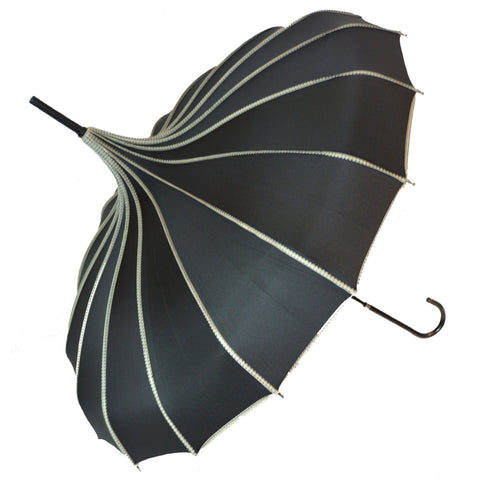 Gothic Umbrella, Black Ribbed Gothic Pagoda Umbrella / Parasol - Angel Clothing