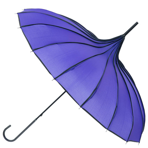 Gothic Umbrella, Purple Ribbed Gothic Pagoda Umbrella / Parasol - Angel Clothing