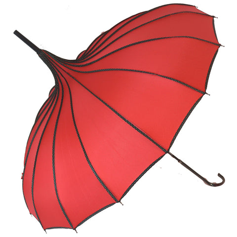 Gothic Umbrella, Red Ribbed Gothic Pagoda Umbrella / Parasol - Angel Clothing