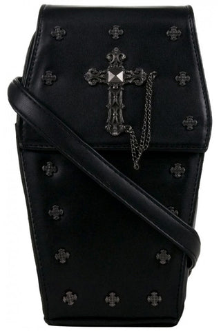 GOTHX Mini Metal Cross Black Coffin Bag | Angel Clothing