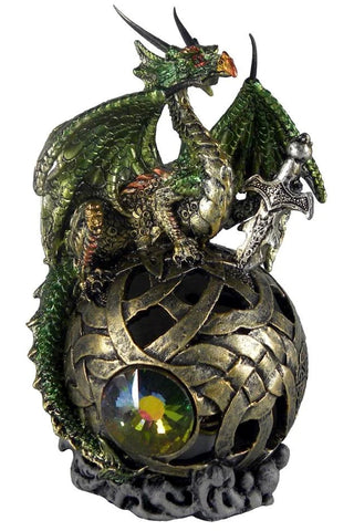 Green Dragon on Golden Orb Light Up Index of Taelth Figurine | Angel Clothing