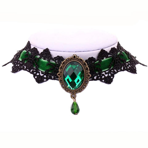 Green Velvet Victorian Gothic Lace Choker | Angel Clothing