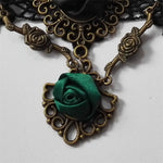 Green and Black Lace Gothic Rose Choker | Angel Clothing