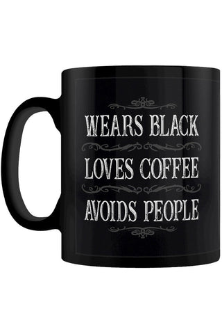 Wears Black, Loves Coffee, Avoids People Mug | Angel Clothing