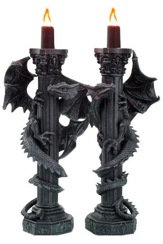 Guardians of the Light Pair of  Dragon Candlesticks | Angel Clothing