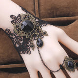 Black Lace and Cabochon Steampunk Slave Bracelet | Angel Clothing