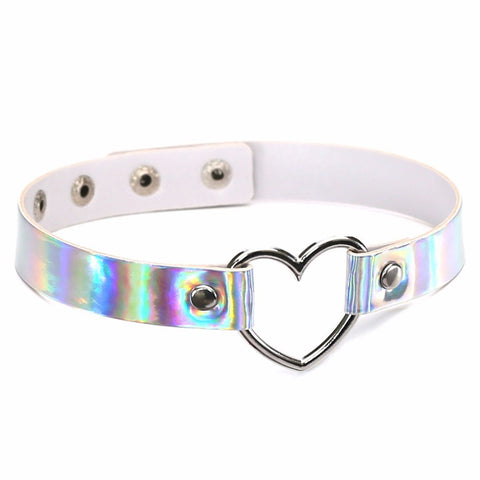 White Holographic Heart Choker | Angel Clothing