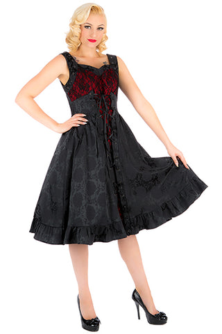 H&R London Black Brocade Red Contrast Mia Dress | Angel Clothing