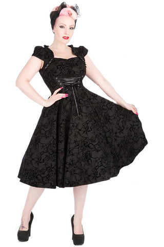 H&R London Black Flocked Victorian Dress | Angel Clothing