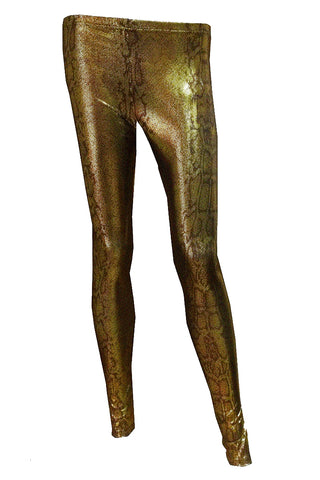 H&R London Golden Snake Print Leggings | Angel Clothing