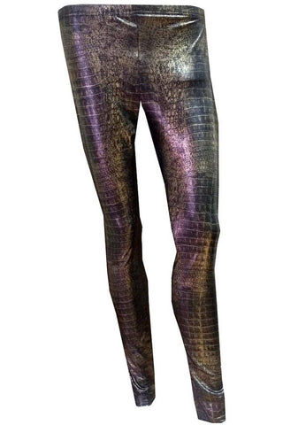 H&R London Intimax Brown Snake Skin Leggings | Angel Clothing