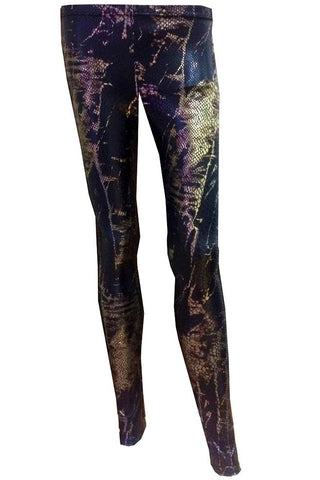 H&R London Marina Golden Print Snake Skin Leggings | Angel Clothing