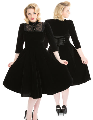 H&R London Nightshade Velvet Dress, Black Velvet Gothic Swing Dress | Angel Clothing