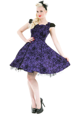 H&R London Purple Flocked Evening Swing Dress | Angel Clothing
