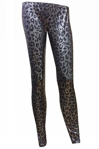 H&R London Silver Leopard Print Leggings | Angel Clothing