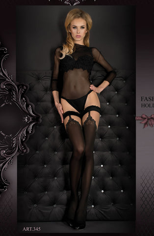 Hush Hush By Ballerina Hold Up Stockings Black - 345 - Angel Clothing