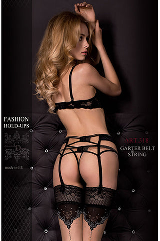Hush Hush By Ballerina Luxury Suspender Belt  Black Satin Nude Mesh 318 - Angel Clothing