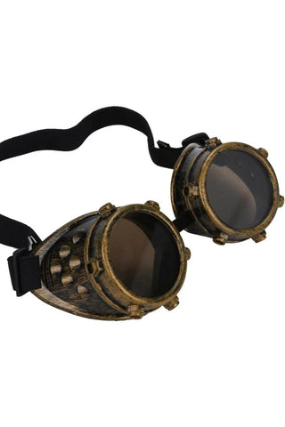 Victorian Brass Studded Steampunk Goggles | Angel Clothing