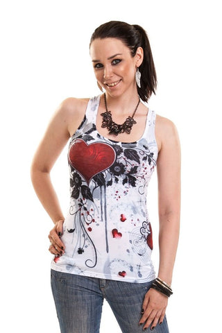 Innocent Lifestyle Gothic Top, Rose Heart Lace Vest - White - Angel Clothing