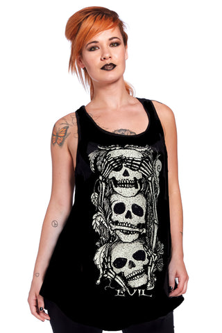 Jawbreaker Gothic Top,  See No Evil Slouchy Vest with Skulls Design - Angel Clothing