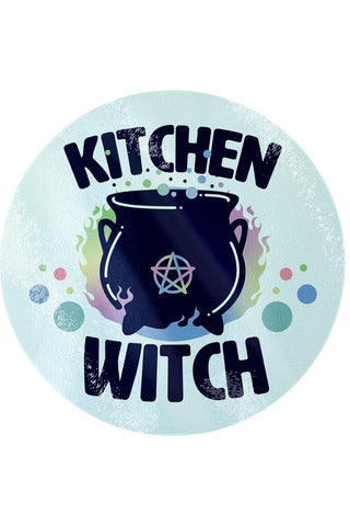 Kitchen Witch Circular Glass Chopping Board | Angel Clothing