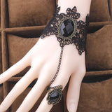 Black Lace and Cabochon Slave Bracelet | Angel Clothing