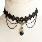 Black Lace Victorian Gothic Heart Choker | Angel Clothing