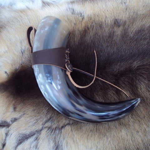 Large Brown Medieval / Viking Drinking Horn With Leather Holder - Angel Clothing