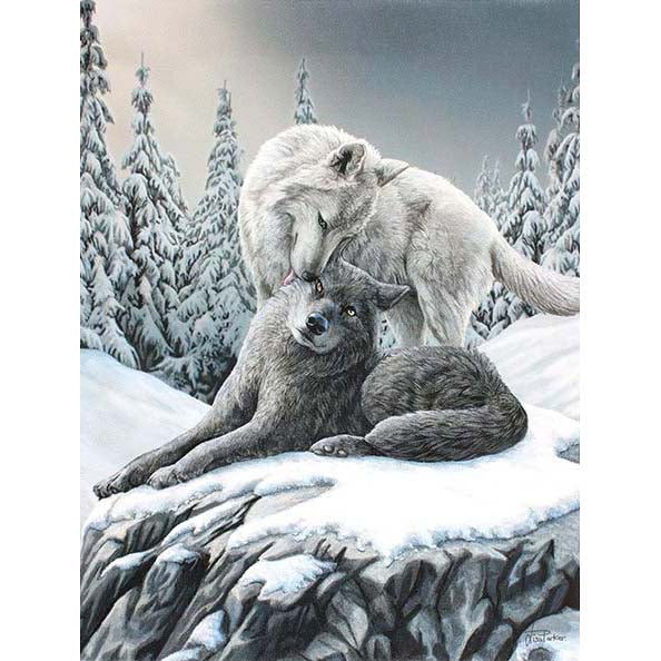 Small Snow Kisses Canvas by Lisa Parker