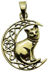 Lisa Parker Cat On Moon Pendant Bronze | Angel Clothing