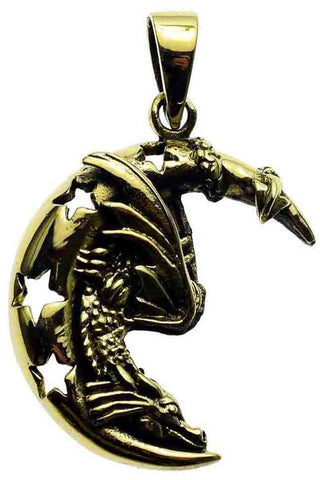 Lisa Parker Dragon On Moon Pendant Bronze | Angel Clothing