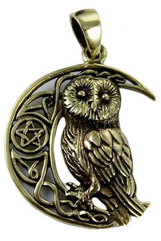 Lisa Parker Owl On Moon Pendant Bronze | Angel Clothing
