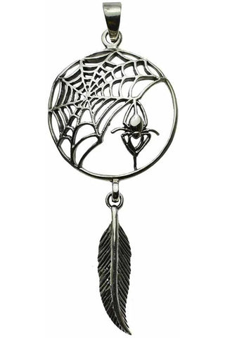 Lisa Parker Spider Feather Dreamcatcher Pendant Silver | Angel Clothing