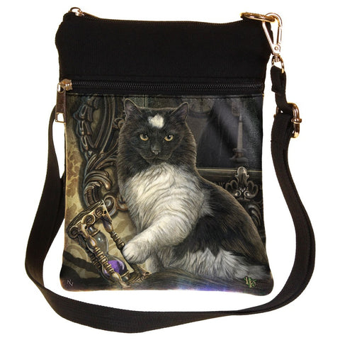 Lisa Parker Times Up Cat with Sand Timer Gothic Shoulder Bag | Angel Clothing
