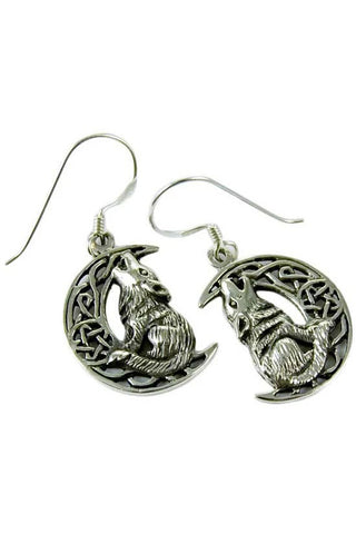Lisa Parker Wolf On Moon Earrings Silver | Angel Clothing