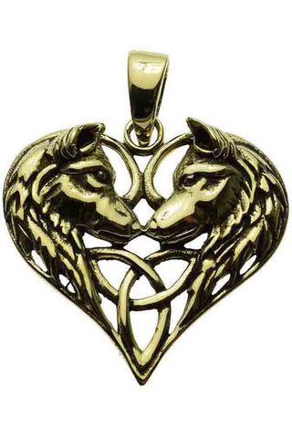 Lisa Parker Wolves Heart Pendant Bronze | Angel Clothing