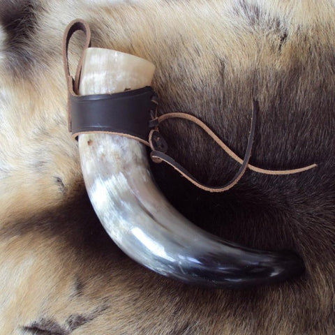 Medium Black Medieval / Viking Drinking Horn With Leather Holder - Angel Clothing