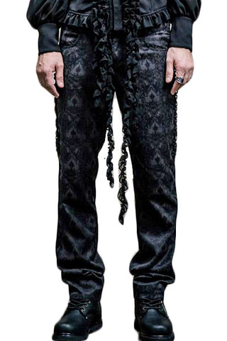 Mens Punk Rave Black Cadogan High Waisted Trousers PT-010 - Angel Clothing