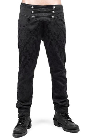 Mens Punk Rave Black Crescent Trousers K-193 - Angel Clothing