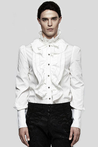 Punk Rave Mens White Dante Frilled Gothic Fancy Shirt Y-597 | Angel Clothing