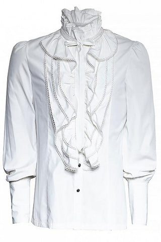 Mens Punk Rave White Dante Mens Frilled Gothic Fancy Shirt Y-597 - Angel Clothing
