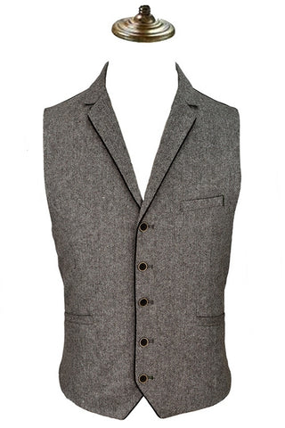 Mens Steampunk Waistcoat, Angelo Brown Herringbone Tweed Waistcoat - Angel Clothing